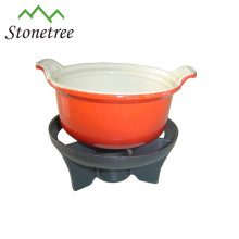 Wholesale Industrial Chinese Red Enamel Cast Iron Chocolate Fondue