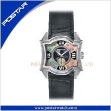 Оригинал Новый Прибытие модное часы Кварцевые наручные часы реального Кожаный ремешок и перламутровый Циферблат