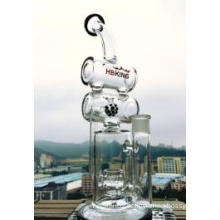 Handblown Glass Water Pipe Doubal Barrel Percolator Recycler Tobacco Smoking Glass Water Pipe