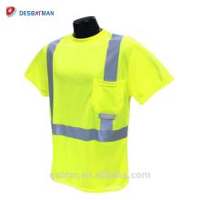 Fabricante chino al por mayor 100% malla de poliéster amarillo / naranja camisetas de trabajo de seguridad con cintas reflexivas y bolsillo ANSI 107