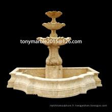 Fontaine de sculpture en marbre beige à trois niveaux (SY-F012)