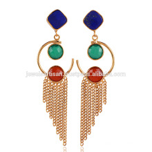 Lapis Lazuli & Onyx Drop Chain Jhumka Gelb vergoldet Messing Ohrringe