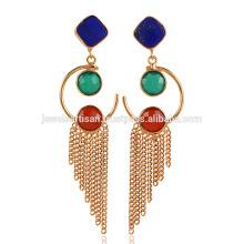 Lapis Lazuli & Onyx Drop Chain Jhumka Boucles d'oreilles en laiton plaqué or