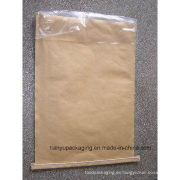 Brown genäht Open Mouth Kraft Papier Taschen mit PE Film