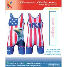 Logo gedruckt Verschiedene Farben und Unterhemd für USA Flag / USA Flag Sublimation Singlet
