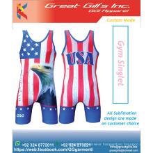 Logo printed Various colors and singlet for USA Flag / USA Flag Sublimation Singlet