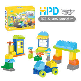 Children's Funny Building Blocks with Construction Site