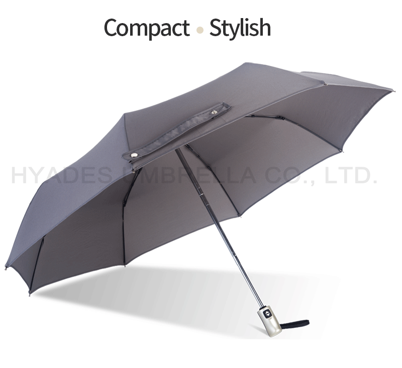 Grey With Pyping Auto Open And Close Folding Umbrella