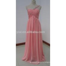 ED5636 одно плечо тонкий ремень милая декольте ruched шифон платья невесты кораллового цвета