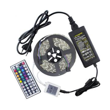 SMD 5050 Flexible Waterproof RGB LED Strip kit with 44 Key remote 12V 5A PowerSupply
