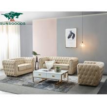 Modern European Style Luxury Lounge Leather Leisure Classic Living Room Wood Furniture Sofa Set