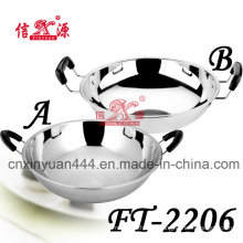 Stainless Steel Deep Fry Pan with Two Hangers (FT-2206)