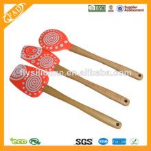 FDA & LFGB Деревянные шпатели для силиконового покрытия с многоцветным покрытием