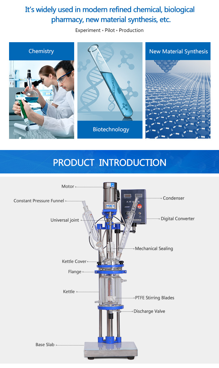 Lab Biochemical Double-Layer Plug Flow Glass Reactor