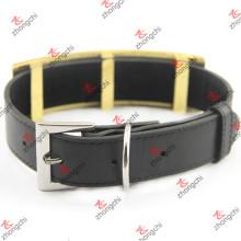 Collar de perro de cuero negro de diseño grande para accesorios para mascotas (PC15121410)