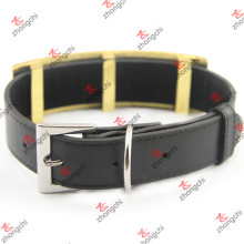 Large Design Black Leather Dog Collar for Pet Accessories (PC15121410)