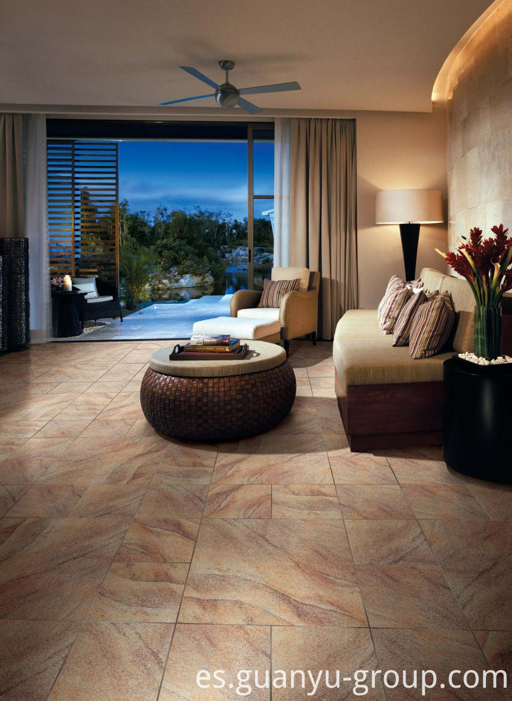 Beige Semi-Polished Finish Porcelain Tile