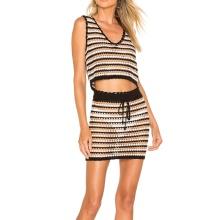 Robe de plage mini-jupe en bikini en crochet à rayures