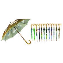 Wärmeübertragungsdruck-hölzerner Wellen-Regenschirm (YS-SM23083562)