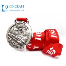 High quality custom metal die cut antique silver plated 3d logo blank 60mm medal for winner