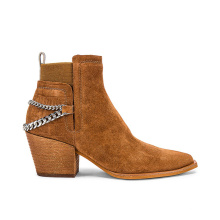 Desert Girl Cowboy Low-cut Boot Hot Sale Customs Chunky Heel High Quality Cow Suede