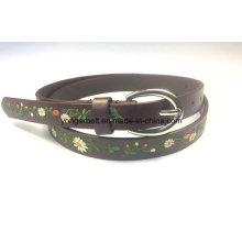 Cinturón de cuero de la PU de las mujeres con bordado