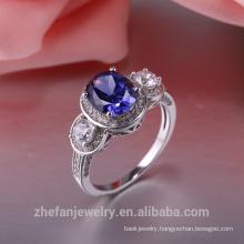 Fashion Diamond Engagement Wholesale Price latest silver rings design for women sapphire