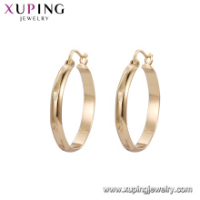 92635 Xuping barato simples 18 k ouro projetos de brinco de argola para as mulheres bijuterias