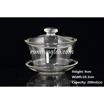 Heat-resistant, Mouth-blown Clear Glass Gaiwan(big Size 200cc)