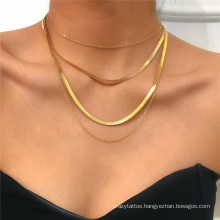 European and American Gold and Silver Punk Hip-Hop Ins Cuban Metal Flat Snake Bone Chain Thin Chain Box Chain Four-Layer Fashion Jewellery Necklace for Women