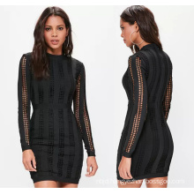 Black High Neck Long Sleeve Bandage Dress