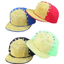 Flat brim acrylic design fashion rivet punk snapback cap hat