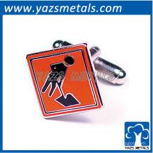 Construction sign cufflinks, customize high quality metal cufflink crafts