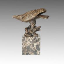 Estatua de animal Eagle y rama de escultura de bronce Tpal-283