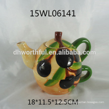 Ceramic teapot and cup set with olive pattern for wholesale