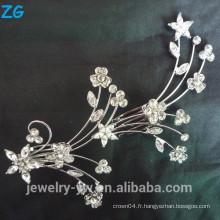 Mode fleur brodé en miroir cheveux en dentelle en miroir peigne peigne à cheveux différents pinces à cheveux métal