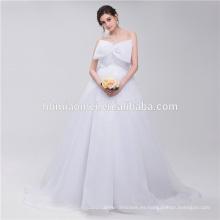 Vestido de novia de diseñador de la bola de gasa blanco puro hermoso Big Bowknot en la parte delantera