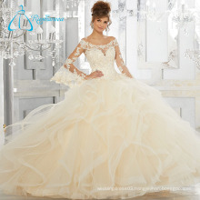 Lace Appliques Sequined Beading Puffy Quinceanera Dresses Long