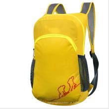 Saco de dobramento ao ar livre, mochila amarela das crianças