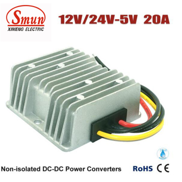 Wasserdichtes 12V 24V zu 5V 20A 100W LED-Stromversorgung