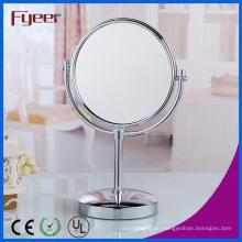 Fyeer Espejo de mesa redonda atractivo Espejo de maquillaje de latón que magnifica