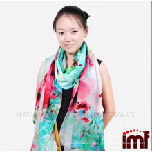 Весна, Лето Зеленый Красный Цветочный Печать Цифровой Овечьей шерсти Пашминовый Шарф для Женщин, Шали
