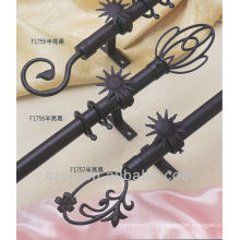 Black bay window iron curtain poles with joint connector