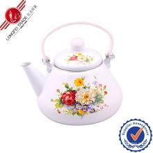 White Enamel Teapot with Bakelite Handle