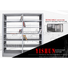 School library furniture double sided cheap metal book shelf with MDF board