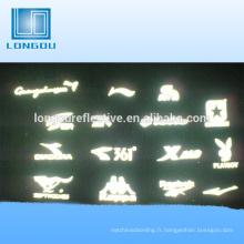 logo de lettres réfléchissantes faites sur commande de haute visibilité d'oem pour l'habillement et le T-shirt de coureur