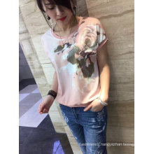 Summer Latest Fashion Pink Flower Embroidered Gold Line Women T-Shirt