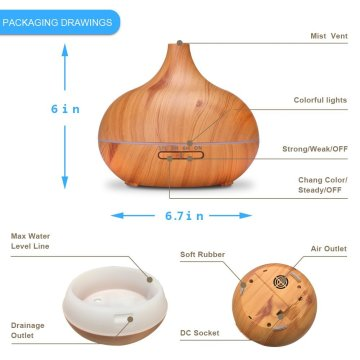 400ml Quiet Humidifier Ultrasonic Wood Ionizer Humidifier