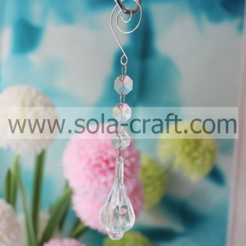 Lovely 18CM Transparent Acrylic Crystal Octagon Hammer Lamp Bead Garland Prism Fit European Decoration
