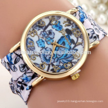 2015 new arrival Ladies hot sale fabric band geneva flower watch